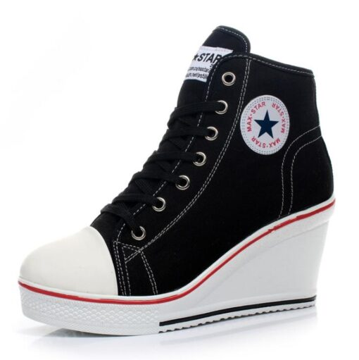 Women Lace-Up Comfortable Platform Wedge Sneakers