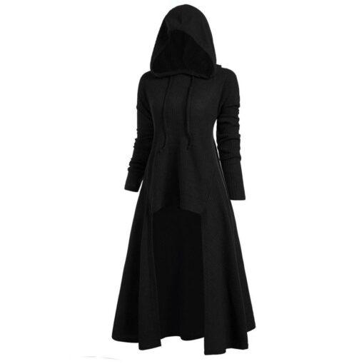 Womens Hooded High Low Drop Shoulder Longline Sweater