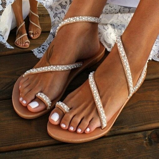 Summer-Flat-Sandals-Sweet-Boho-Pearl-Decoration-Sandals-Leather-Flats-Plus-Size-Women-Beach-Sand-Holiday