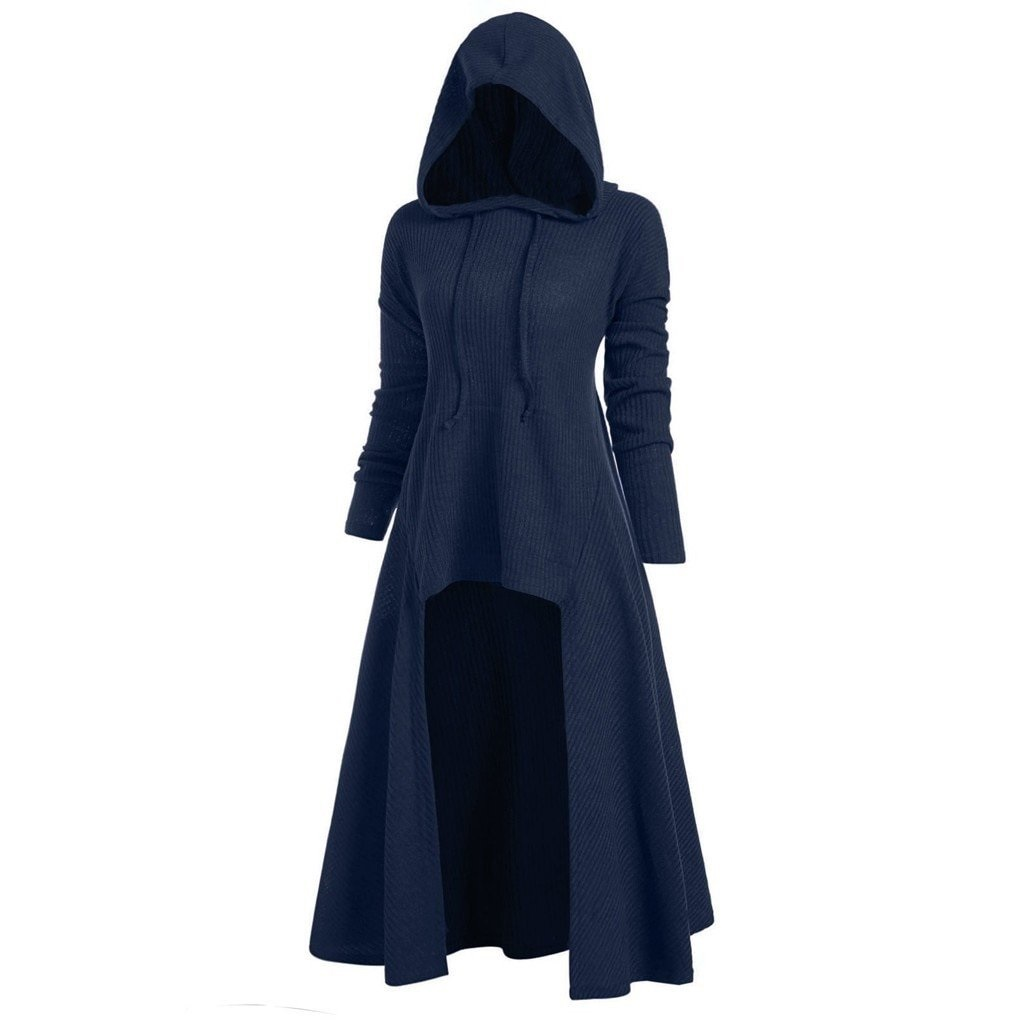 Womens Hooded High Low Drop Shoulder Longline Sweater